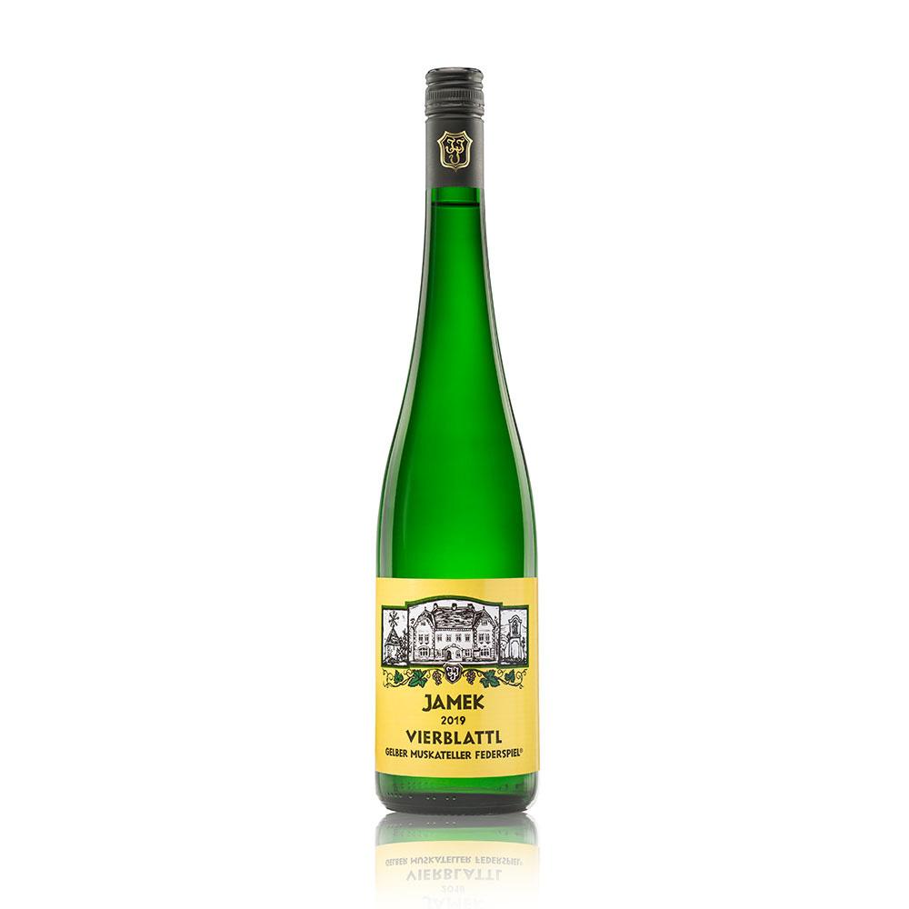 Flasche JAMEK Vierblattl Gelber Muskateller Federspiel 2019